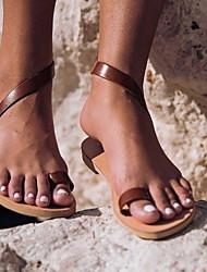 cheap -Women's Sandals Flat Heel Round Toe PU Summer Brown / White