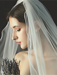 cheap -One-tier Formal Style / Irregular Style Wedding Veil Fingertip Veils with Fringe / Solid 59.06 in (150cm) Tulle / Angel cut / Waterfall