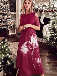 cheap -Women's Red Black Dress A Line Geometric L XL