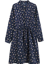 cheap -Women's Green Navy Blue Dress A Line Floral S M