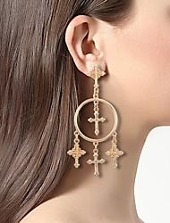cheap -Women's Hoop Earrings Tassel Fringe Cross Simple Earrings Jewelry Gold For