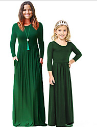 cheap -Mommy and Me Solid Colored Dress Wine