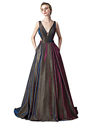cheap -Ball Gown V Neck Sweep / Brush Train Spandex Sparkle / Purple Prom / Formal Evening Dress with Pleats 2020
