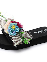 cheap -Women's Slippers & Flip-Flops Flat Heel Open Toe Satin Flower / Ribbon Tie Polyester Casual / Minimalism Walking Shoes Summer Black / Color Block
