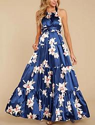 cheap -Women's Maxi Royal Blue Dress Swing Floral Halter Neck S M