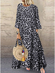 cheap -Women's Vacation Beach Home Asymmetrical A Line Loose Dress - Leopard Oversize Spring Brown Gray S M L XL