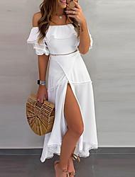 cheap -Women's Asymmetrical White Dress A Line Solid Color Off Shoulder S M
