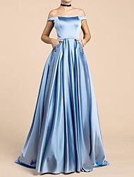 cheap -A-Line Elegant Blue Engagement Prom Dress Off Shoulder Short Sleeve Floor Length Satin with Sequin 2020