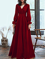 cheap -A-Line Red Retro Engagement Formal Evening Dress V Neck Long Sleeve Floor Length Velvet with Pleats 2020