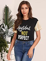 cheap -Women's T Shirt Patchwork Print Letter Short Sleeve Top