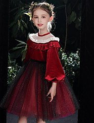 cheap -A-Line Knee Length Pageant Dresses - Tulle Long Sleeve Jewel Neck with Bow(s) / Ruffles / Appliques