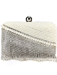 cheap -Women's Bags Polyester Alloy Evening Bag Crystals Tassel Tassel Pearl Rhinestone Wedding Bags Wedding Party Beige