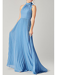 cheap -Sheath / Column Halter Neck Floor Length Polyester Bridesmaid Dress with Bow(s) / Sash / Ribbon / Pleats