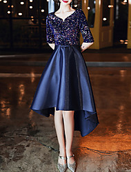 cheap -A-Line Glittering Blue Cocktail Party Prom Dress Jewel Neck Half Sleeve Asymmetrical Satin with Sequin 2020