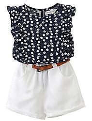 cheap -Kids Girls' Basic Color Block Sleeveless Clothing Set White