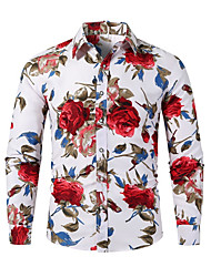 cheap -Men's Plus Size Floral Color Block Shirt Boho Street chic Daily Weekend White / Long Sleeve