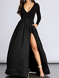 cheap -Ball Gown Elegant Black Prom Formal Evening Dress V Neck Long Sleeve Floor Length Spandex with Pleats Split 2020