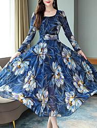 cheap -Women's Maxi Red Blue Dress A Line Geometric M L