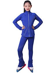 cheap -Over The Boot Figure Skating Tights Figure Skating Fleece Jacket Girls' Ice Skating Top Bottoms Black Fuchsia Blue Fleece Spandex High Elasticity Training Competition Skating Wear Crystal / Rhinestone