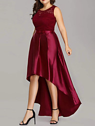 cheap -A-Line Jewel Neck Asymmetrical Polyester Hot / Red Prom / Wedding Guest Dress with Bow(s) / Pleats 2020