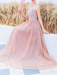cheap -A-Line Strapless Floor Length Tulle Bridesmaid Dress with Sequin