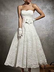 cheap -A-Line Wedding Dresses Strapless Tea Length Lace Sleeveless Formal Little White Dress with Appliques 2020