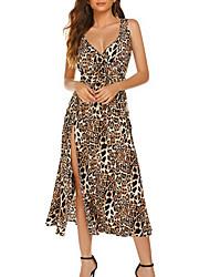 cheap -Women's Maxi Brown Dress A Line Leopard Strap XS S