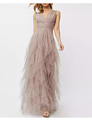 cheap -A-Line V Neck Floor Length Polyester Spring / Pink Prom / Formal Evening Dress with Draping / Tier 2020