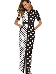 cheap -Women's Maxi Black Dress Sheath Polka Dot Stand S M