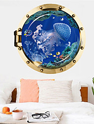 cheap -Jellyfish Wall Sticker Multicolor Flat Removable Underwater World 3D PVC Wallpaper Home Decorations