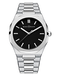 cheap -Men's Steel Band Watches Quartz Water Resistant / Waterproof Analog Black / Silver Black+Gloden Black / Pink / One Year / Stainless Steel