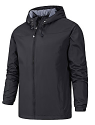 cheap -Men's Full Zip Track Jacket Running Jacket Windbreaker Winter Hooded Running Walking Jogging Waterproof Windproof Breathable Sportswear Plus Size Top Long Sleeve Activewear Micro-elastic / Quick Dry