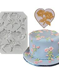 abordables -1pcs rose fondant molde de decoración de pastel de silicona diy