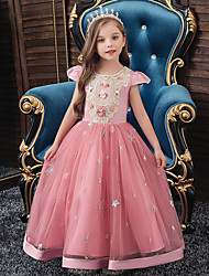 cheap -A-Line Ankle Length Wedding / Party / Pageant Flower Girl Dresses - Tulle / Matte Satin / Poly&Cotton Blend Short Sleeve Jewel Neck with Pattern / Print / Solid