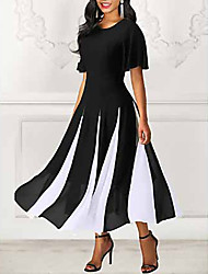 cheap -Women's 2020 Maxi Black Dress Spring & Summer A Line Striped M L