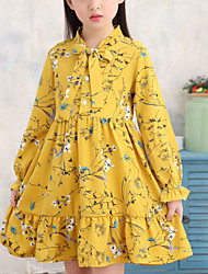 cheap -Kids Little Girls' Dress White Blue Floral Plants Patchwork Ruched Blue Yellow White Above Knee Long Sleeve Cute Dresses Children's Day Loose
