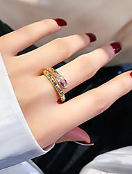 Недорогие -Жен. Мужчина женщина Кольцо манжета кольцо Регулируемое кольцо Цирконий 1шт Золотой Циркон Медь Стиль европейский модный Подарок Официальные Бижутерия Старинный Змея
