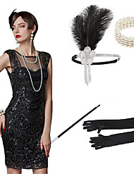 cheap -The Great Gatsby Charleston 1920s The Great Gatsby Costume Accessory Sets Masquerade Women's Costume Bead Bracelet Beaded Necklace Black Vintage Cosplay Party Halloween / 1 Bracelet / 1 Hair Jewelry