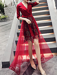 cheap -Sheath / Column Hot Red Party Wear Prom Dress V Neck Half Sleeve Asymmetrical Tulle Sequined with Sequin Tassel 2020