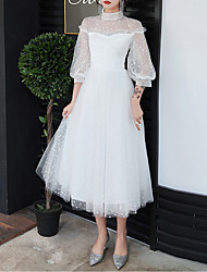 cheap -A-Line White Retro Graduation Cocktail Party Dress High Neck Half Sleeve Tea Length Tulle with Pleats 2020 / Illusion Sleeve