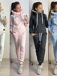 cheap -Women's 2-Piece Tracksuit Sweatsuit Jogging Suit Street Athleisure Long Sleeve Winter Fleece Warm Soft Fitness Running Jogging Sportswear Solid Colored Outfit Set Clothing Suit Hoodie Dark Grey Blue