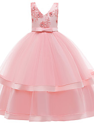 cheap -Kids Girls' Active Cute Solid Colored Lace Bow Embroidered Sleeveless Maxi Dress Blushing Pink
