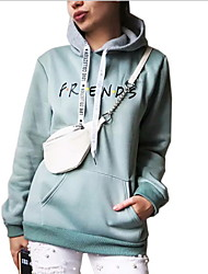 cheap -Women's Hoodie Solid Colored / Letter Basic White Black Blue Yellow Blushing Pink Green M L XL XXL