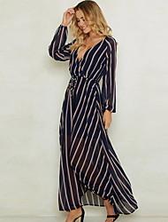 cheap -Women's Maxi Royal Blue Dress Swing Striped Deep V S M