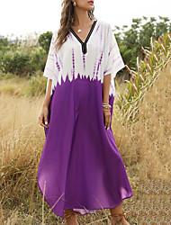 cheap -Women's Maxi Loose Dress - 3/4 Length Sleeve Color Block Asymetric Hem Summer V Neck Abaya Holiday Vacation Beach Loose Purple One-Size