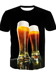 cheap -Men's Party Club T-shirt - 3D / Beer Print Black