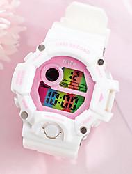 Недорогие -Муж. и жен. Спортивные часы Кварцевый Pезина Черный / Белый / Синий 50 m Защита от влаги Календарь будильник Цифровой На открытом воздухе Новое поступление - Черный Белый + розовый Белый / Один год