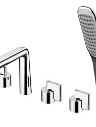 cheap -Bathtub Faucet - Contemporary Electroplated Roman Tub Ceramic Valve Bath Shower Mixer Taps