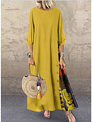 cheap -Women's 2020 Maxi Yellow Red Dress Casual Summer Shift Polka Dot Patchwork Button Print L XL Loose
