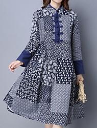 cheap -Women's Blue Dress Loose Print Stand M L Loose